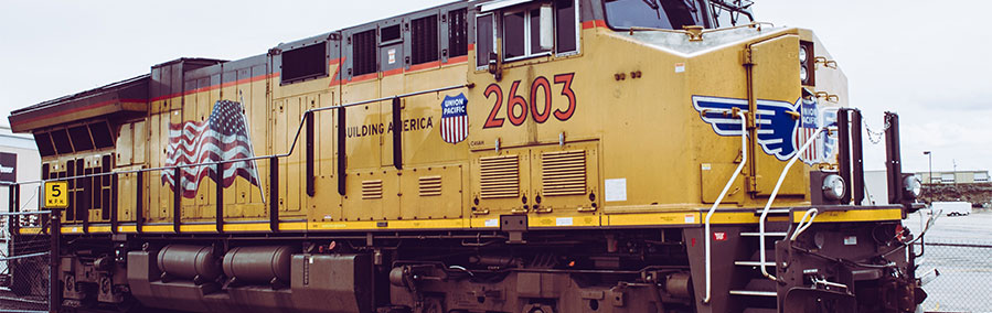 Union Pacific train on track